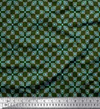 Soimoi Grun Baumwolle Batist Stoff quadratisches Dreieck
