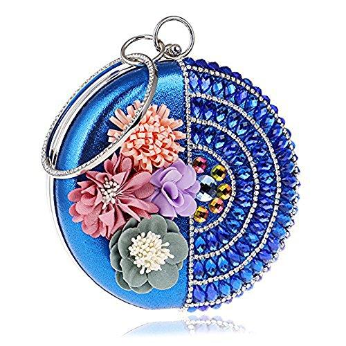WANGXN donne frizioni con diamanti abito da sposa in raso abito da sposa con fiori , silver blue