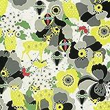 Stoff Canvas Kayo Horaguchi Eule Bambi grau gelb Baumwollstoff 1,10m Breite