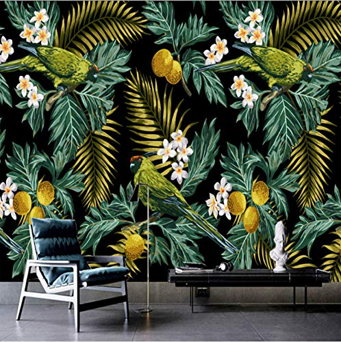 Benutzerdefinierte Größe 3D Wandbild Tropischer Regen Wald Papagei Kokosnussblatt Wandmalerei Wohnzimmer Tv Hintergrundbild Papel De Parede Sala.250X175Cm