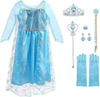URAQT Vestido de Princesa Elsa, Reina Frozen Disfraz Elsa Vestido Infantil Niñas Costume Azul Cosplay de Disney Disfraz...