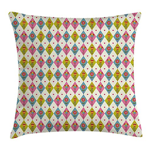 ZMYGH Floral Throw Pillow Cushion Cover, Cute Tulips Pattern Inside Geometric Rhombus Diamonds and Hearts Artsy Print, Decorative Square Accent Pillow Case,Pink Khaki Blue 18x18inches