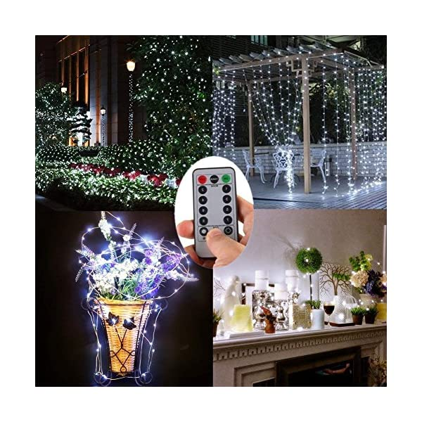 Fairy String Lights, 2 Set de 60 luces LED de hada de cobre impermeables con mando a distancia, 8 modos de luz…