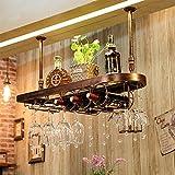YONG FEI Weinregal Eisen/Holz/Glas Black Walnut/Bronze/Kastanie Creative Bar Weinglas Inhaber Cup Inhaber auf den Kopf gestellt Abmessungen: 60/80/100 / X28X31 cm Gute Qualität