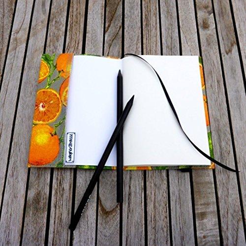 Notizbuch A6 Tagebuch Journal, Stoffhülle Orangen orange grau grün, handgefertigt