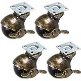 Skelang 4 Stks 50mm Ball Castor Wiel, Plaat Castor met Remmen, Antieke Plaat Swivel Caster voor Meubels, Stoel, Koffietafel,