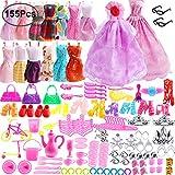 Outee 155 Piezas de Ropa de muñeca Barbie Set Party Grown Outfit Incluyendo 15 Piezas de Ropa de Barbie 140 Piezas de muñeca Barbie Accesorios para niñas Fiesta de niños