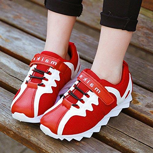 Kinder Frühling Unisex Schnellverschluss Schnürsenkel Gummi Sohle Anti-rutsch Bequeme Flach Sneakers Rot