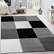 alfombra moderna saln velour corto cuadros diseo gris negro blanco liquidacin