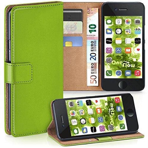 moex iPhone 6S   Hülle Grün mit Karten-Fach 360° Book Klapp-Hülle Handytasche Kunst-Leder Handyhülle für iPhone 6/6S Case Flip Cover Schutzhülle Tasche