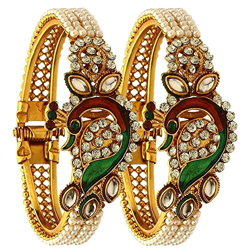 Efulgenz Indian Bollywood Traditional Ethnic Gold Plated Pearl Studded Bracelets Bangle Set Wedding Jewelry For Women (Dry Pearl Green)