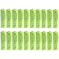 BuyaBattery AA 1.2v 600mAh NiMH Rechargeable Solar Light Batteries for Outdoor Garden Solar Lights (20 pack)
