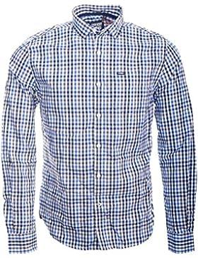 Superdry Herren Freizeit-Hemd Babington Check Blue