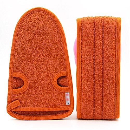 BB.er Lange gestreifte Badetuch unisex Erwachsene doppelseitige starke Peeling-Dusche Handschuhe, orange (Orange Gestreifte Badetuch)