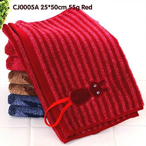 junchen Torchon Coton Enfant serviette de la mode cartoon chat Serviettes libre verschiffen Serviette Visage Profondeur couleur, cj0005 a Rouge, 25 x 50 cm