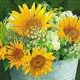 20 Stück Serviette 25x25 cm Sonnenblume Cocktail Sommer Garten