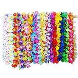 Hawaiikette Blumenketten Halskette, 36 Stück Hawaiianische Kränze Tropische Blumen, Hawaii Party Kostüm Halskette Girlande Tropischen Hawaiianischen Luau Blumen Lei für Kleid, Party Favors, Strand und Themenbezogenen Geburtstage