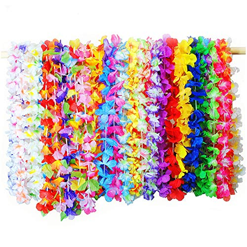 Vidillo Hawaiian Leis Necklace,36Pcs Lei Hawaii Flowers Necklace Garland,Tropical Luau Rainbow Coloured Flower Lei Silk Flower Garland for Luau Theme Summer Beach Party Birthday Christmas