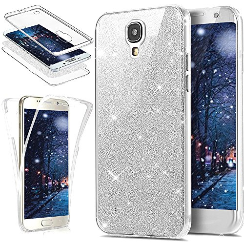 Coque Galaxy S4,Etui Galaxy S4,Galaxy S4 Case,Intégral 360 Degres avant + arrière Full Body Protection Bling Brillant Glitter Transparent Silicone Gel Case Coque Housse Etui pour Galaxy S4,Argent