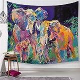 Morbuy Psychedelic Elefant Wandteppich, Dekoration Tapisserie Kreativ Motiv Wandbehang aus Polyster Wandtuch Tischdecke Meditation Yogamatte Strandtuch (Groß (150 x 200cm), Farbiges Ölgemälde)
