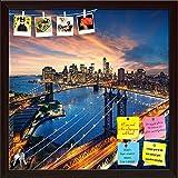 ArtzFolio Manhattan & Brooklyn Bridge, New York, USA Printed Bulletin Board Notice Pin Board cum Dark Brown Framed Painting 12 x 12inch