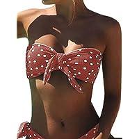 UMIPUBO Costumi da Bagno Donna Push Up Imbottito Costumi da Mare Senza Spalline Due Pezzi Bikini A Pois Spiaggia Bandeau…