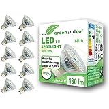10x greenandco® CRI97+ 2700K 110° LED-spot vervangt 50 Watt GU10 halogeenspot, 5W 430 lumen warmwit 230V AC, flikkervrij, nie