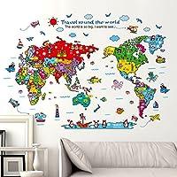 Renkli Dünya Çocuk Haritası Atlas Duvar Dekoru Sticker