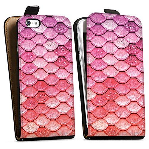 Apple iPhone 6 Plus Silikon Hülle Case Schutzhülle Regenbogen Schuppen Meerjungfrau Downflip Tasche schwarz