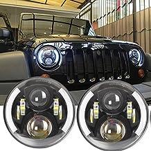 2pezzi rotondo LED Angel Eye 17,8cm 60W moto faro auto ricambi per Harley Davidson Jeep Wrangler TJ JK LJ Truck faro
