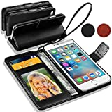 HTC One M8 - Leather Wallet Flip Case Cover Pouch + Mini Touch Stylus Pen + Screen Protector & Polishing Cloth ( Black )