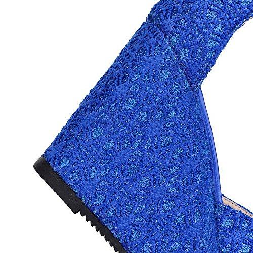VogueZone009 Femme Ouverture Petite Mosaïque à Talon Haut Sandales à Coin Bleu
