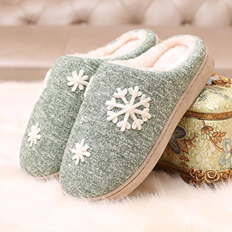 YMFIE Pareja de invierno térmico interior antideslizante SHOES zapatillas de algodón,36 / 37,b  -