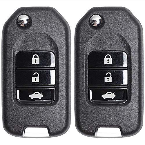 Beefunny 2 Stück ID46 Chip Upgraded Flip Folding 3 Tasten Remote Key Fob for Honda Accord 8. Generation 2008-2012 (Remote-key Für Accord Honda)