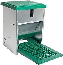 OLBA Futterautomat Feedomatic 5kg mit Trittplatte für 5kg Futter, Geflügel-Futterautomat, Hühnertrog, Futtertrog
