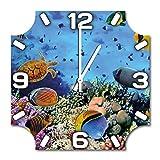 Unterwasserwelt, Design Wanduhr aus Alu Dibond zum Aufhängen, 30 cm Durchmesser, schmale Zeiger, schöne und moderne Wand Dekoration, mit qualitativem Quartz Uhrwerk