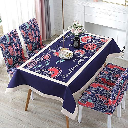 QWEASDZX Tischdecke Digitaldruck Antifouling Wasserdicht National Style Cloth Rechteckige Tischdecke Geeignet für Innen- und Außenbereich Multifunktions-Rückenlehne 140x200cm