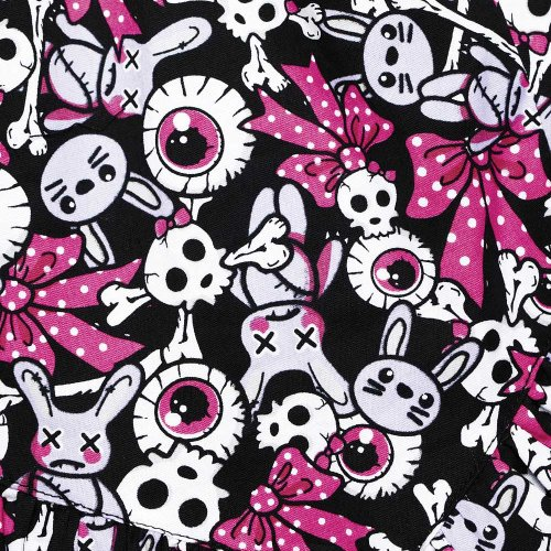 Hell Bunny Minirock CYANIDE MINI black/fuchsia Rosa