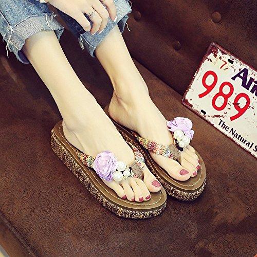Il flip flop, estate pantofole, donna summer calzature infradito, scarpe da spiaggia,uk 4,viola,