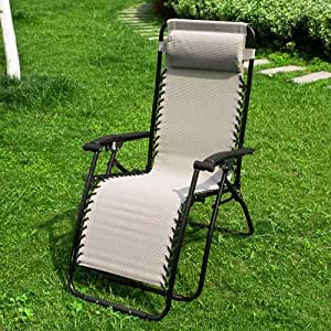 chaise longue bain de soleil chaise de camping transat m tal et toile inclinable pliable. Black Bedroom Furniture Sets. Home Design Ideas