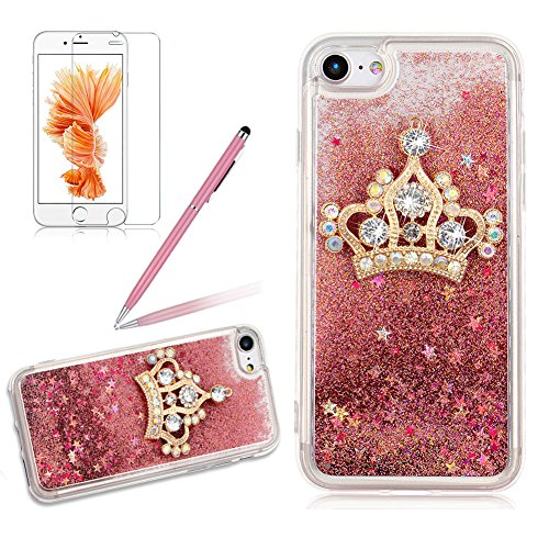 S Flüssig Rosa, Girlyard Glitzer 3D Transparent Hardcase + Weich TPU Rahmen Schutzhülle für iPhone 6 Schwimmend Treibsand Shiny Stern Design Backcover mit Bling Diamant Gold Krone für iPhone 6/ iPhone 6S 4.7 Zoll (Diy-king-krone)