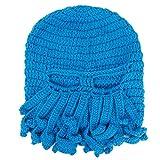 FEESHOW Unisex Damen Herren Tintenfisch Squid gestrickte Mütze Cthulu Octopus Beanie Hat Strickmützen Winter Kraken-Shaped Blau One Size -