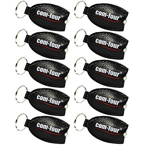 Preisvergleich Produktbild COM-FOUR® 10x Schlüsselanhänger mit LED Lampe in schwarz, DAS Original von COM-FOUR® in Lederoptik