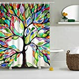 Shower Curtain, Tree of Life Fabric Colorful Shower Curtain with 12 Ring Hooks - Waterproof Mildewproof Polyester Fabric, 3D Printing, Non-Toxic, Non-Smelling, No-Hardening in Winter , Easy to Clean ,180x180cm (Multicolor Tree)