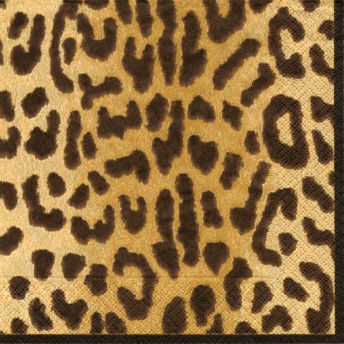 Cocktailservietten Urlaub Party Weihnachten Party Hochzeit Geburtstag Party Leopard Cocktail Pack of 60 braun (Supplies Party Leopard-geburtstag)