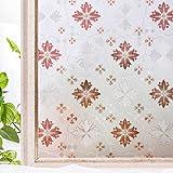 CottonColors bunte 3D Fensterfolie Dekorfolie Sichtschutzfolie milchglasfolie selbstklebend, Anti-UV DIY geeignet für Küche Rote Blumen badezimmer 3Ftx6.5Ft (90CMx200CM)