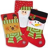 3er Set Weihnachtsstrümpfe und Nikolausstiefel im Vintage Look – christmas stocking - Weihnachtssocken und Weihnachtsstrumpf mit 3 Weihnachtsmotiven – Weihnachtsdeko und Kamin Dekoration