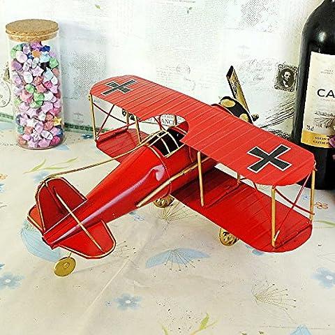 LLL-Regalos de novio Vintage modelo avión decoraciones para el hogar , red , 27*31*14 cm