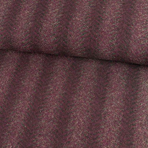 Wollstrick Fischgrät Streifen beere Winterstoffe - Preis gilt für 0,5 Meter (Cape Kostüm Ideen Lila)