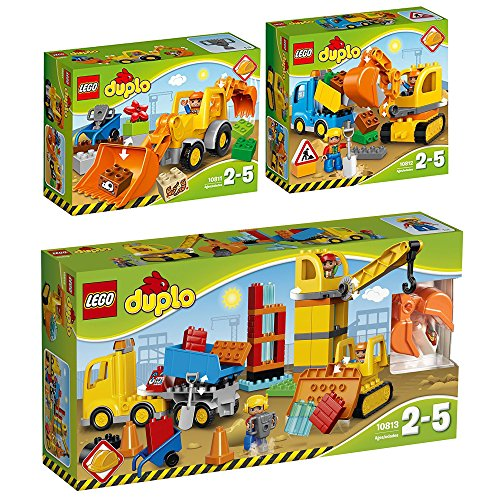 LEGO Duplo 3er Set 10811 10812 10813 Baggerlader + Bagger mit LKW + Große Baustelle